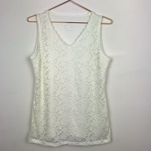 Susan Graver QVC Lace Overlay Sleeveless Blouse S
